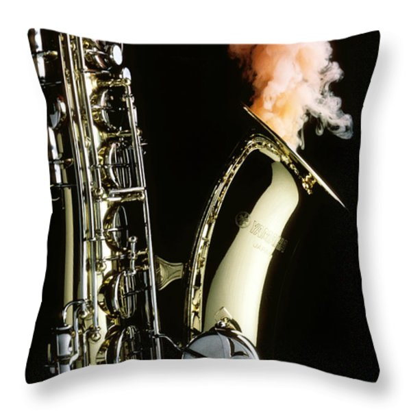 Saxophone with smoke Throw Pillow by Garry Gay