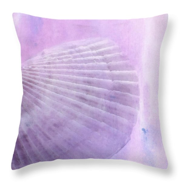 Scallop Sea Shell in Purple Throw Pillow by Betty LaRue