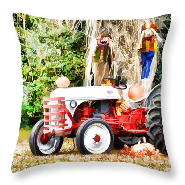 Scarecrow And Pumpkins 2 Throw Pillow by Lanjee Chee