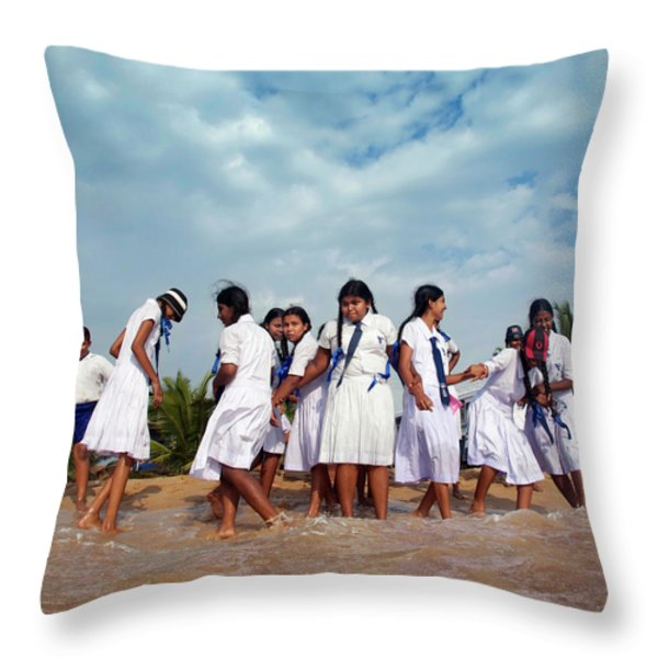 School Trip to Beach II Throw Pillow by Rafa Rivas