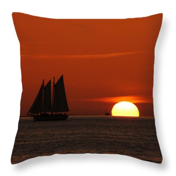 Schooner In Red Sunset Throw Pillow by Susanne Van Hulst