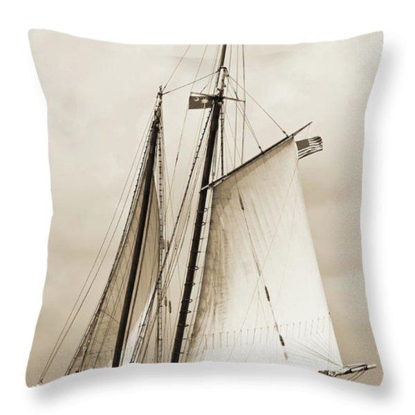 Schooner Sailboat Spirit Of South Carolina Sailing Throw Pillow by Dustin K Ryan