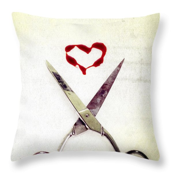 scissors and heart Throw Pillow by Joana Kruse