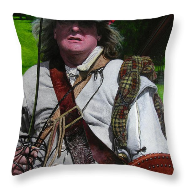 Scottish Soldier Of The Sealed Knot At The Ruthin Seige Re-enactment Throw Pillow by Harry Robertson