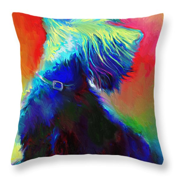 Scottish Terrier Dog Painting Throw Pillow by Svetlana Novikova