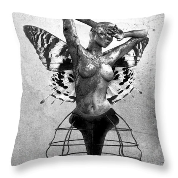 Scream of a Butterfly II Throw Pillow by Photodream Art
