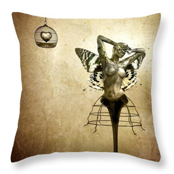 Scream Of A Butterfly Throw Pillow by Jacky Gerritsen