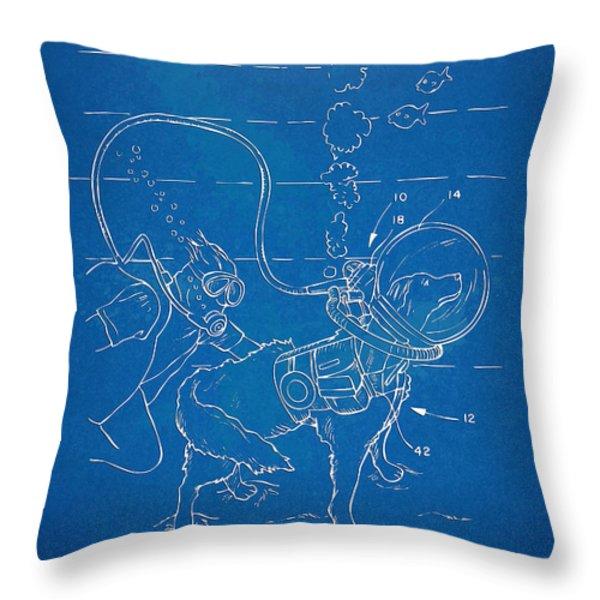 Scuba Doggie Patent Artwork 1893 Throw Pillow by Nikki Marie Smith