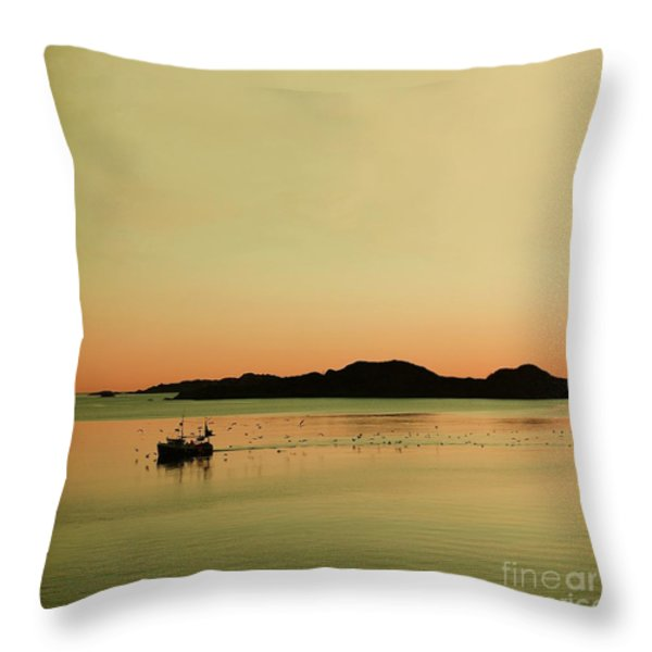 Sea after sunset Throw Pillow by Sonya Kanelstrand