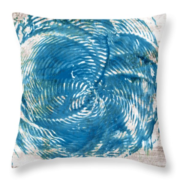 Throw Pillow featuring the painting Sea Blue Abstract by Frank Tschakert