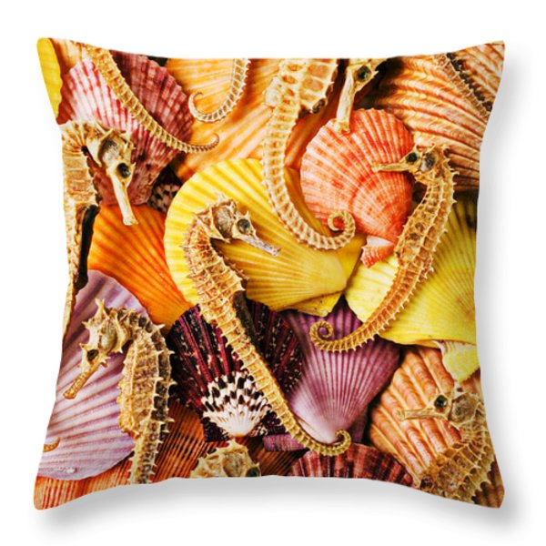 Sea Horses And Sea Shells Throw Pillow by Garry Gay