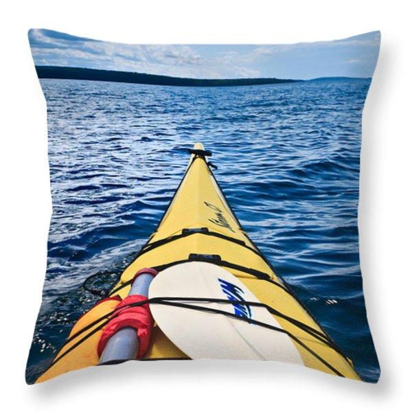 Sea Kayaking Throw Pillow by Steve Gadomski