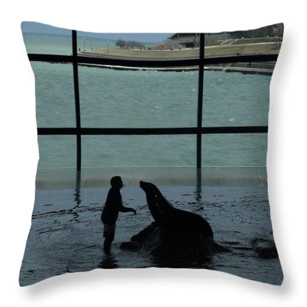 Sea Lion II Throw Pillow by Anna Villarreal Garbis