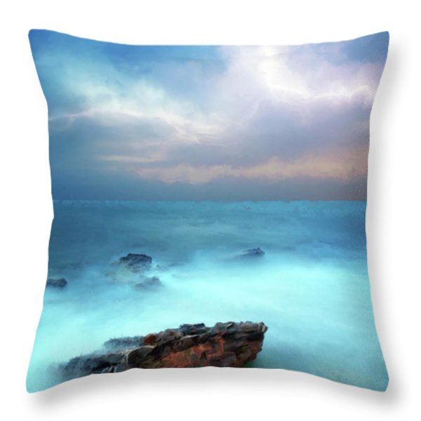 Sea Sky And Stone Throw Pillow by Michael Greenaway
