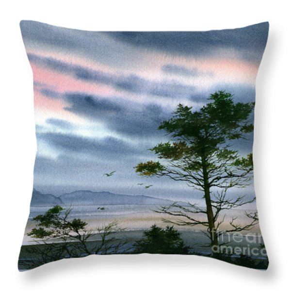 Seacoast Winter Sunset Throw Pillow by James Williamson