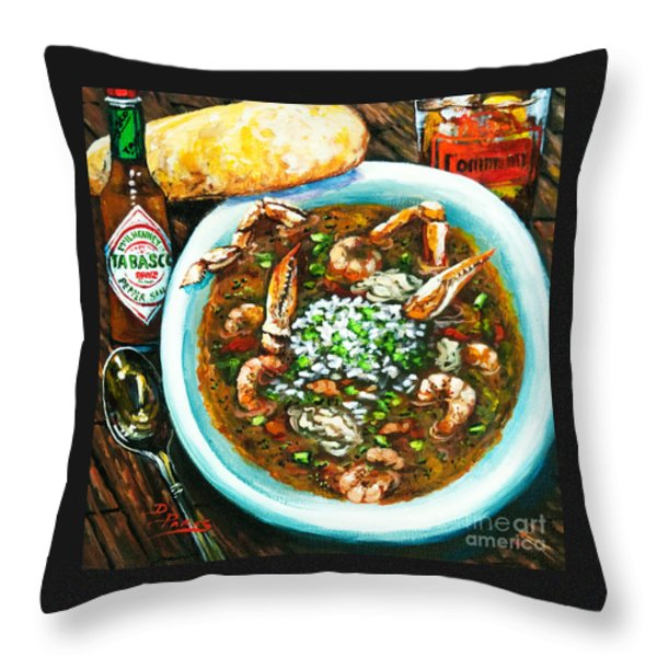 Seafood Gumbo Throw Pillow by Dianne Parks