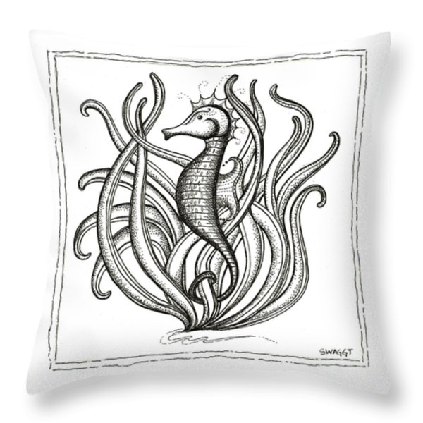 Seahorse Throw Pillow by Stephanie Troxell