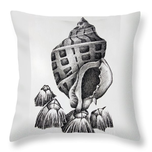 Seashell And Barnacles Throw Pillow by James Williamson