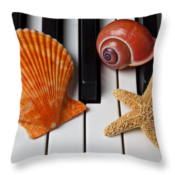 Seashell And Starfish On Piano Throw Pillow by Garry Gay