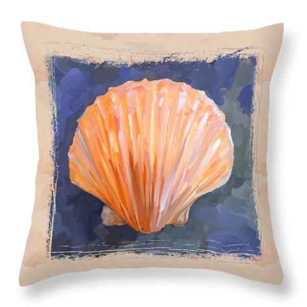 Seashell I Grunge With Border Throw Pillow by Jai Johnson