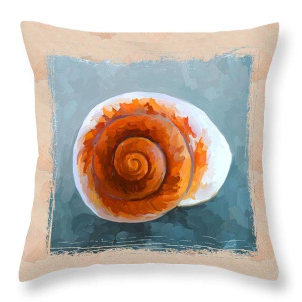 Seashell II Grunge With Border Throw Pillow by Jai Johnson