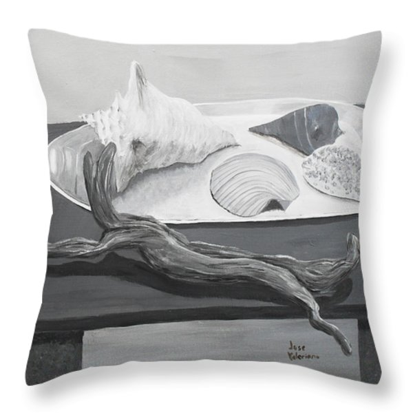 Seashells on table Throw Pillow by Jose Valeriano