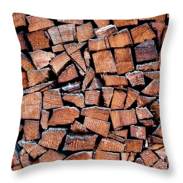 Throw Pillow featuring the photograph Seasoned Firewood Stacking Pattern by Frank Tschakert