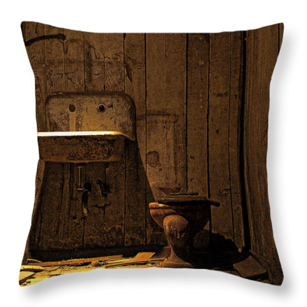 Seattle Underground Bathroom Throw Pillow by David Patterson