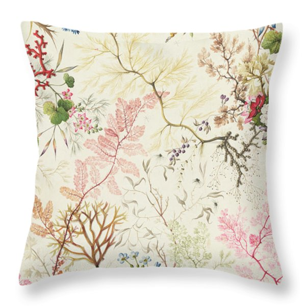 Seaweed design for silk material Throw Pillow by William Kilburn
