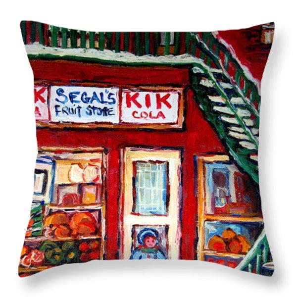 SEGAL'S MARKET ST.LAWRENCE BOULEVARD MONTREAL Throw Pillow by CAROLE SPANDAU
