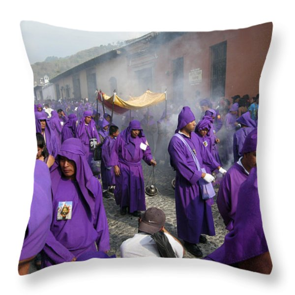 Semana Santa Procession IV Throw Pillow by Kurt Van Wagner