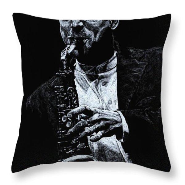 Sensational Sax Throw Pillow by Richard Young