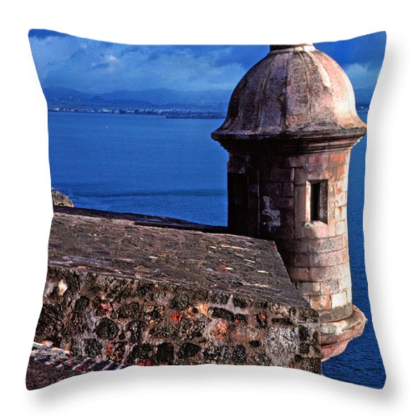 Sentry Box El Morro Fortress Throw Pillow by Thomas R Fletcher