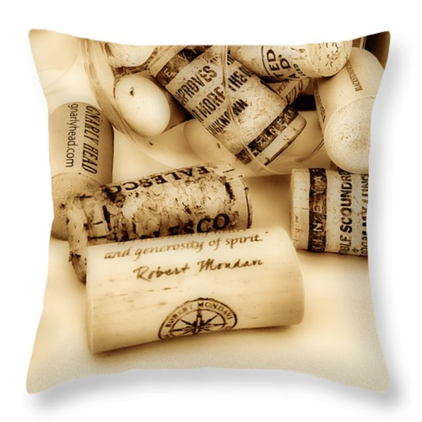 Sepia Corks Throw Pillow by Cheryl Young
