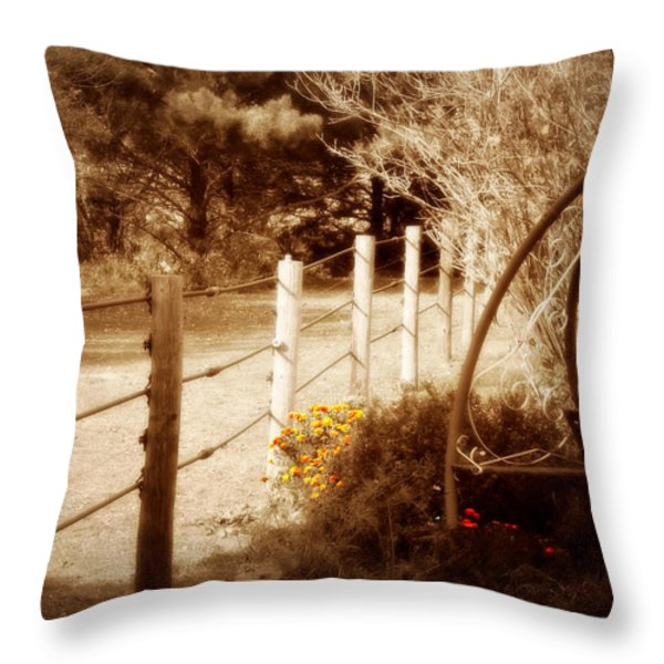 Sepia Garden Throw Pillow by Julie Hamilton