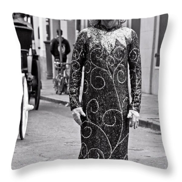 Sequined Mime in Black and White Throw Pillow by Kathleen K Parker