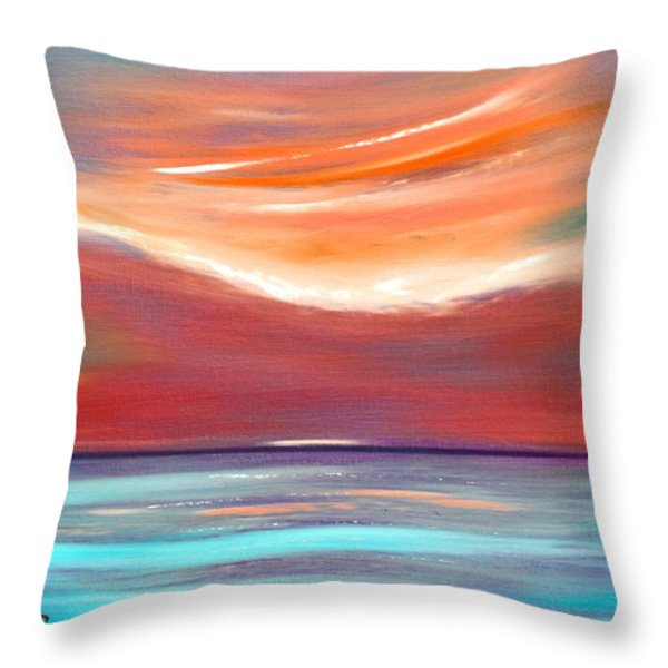 Throw Pillows - Serenity 2 - Abstract Sunset Throw Pillow by Gina De Gorna