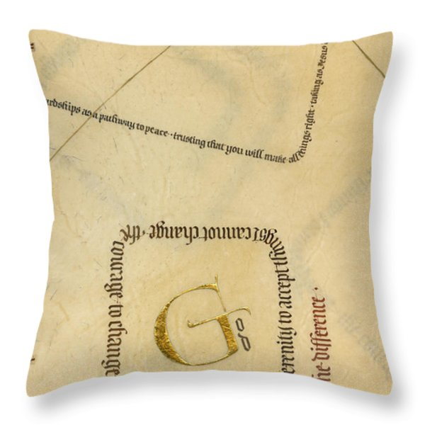Serenity Prayer II Throw Pillow by Judy Dodds