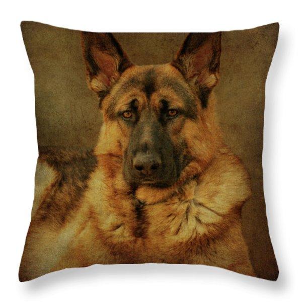 Serious Throw Pillow by Sandy Keeton