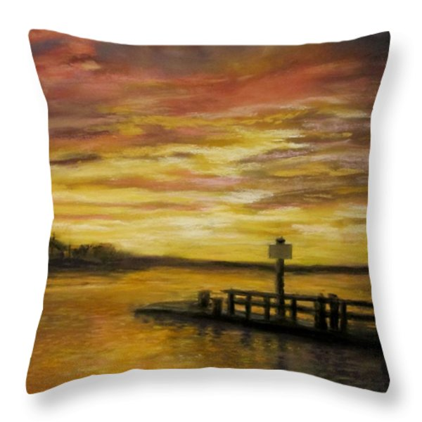 Sesuit Harbor at Sunset Throw Pillow by Jack Skinner