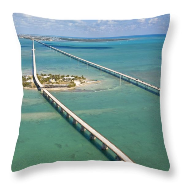 Seven Mile Bridge Crossing Pigeon Key Throw Pillow by Mike Theiss