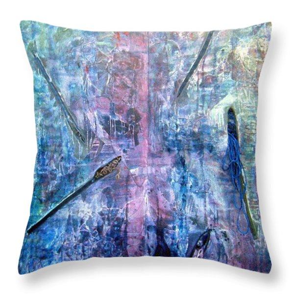 Seven Zippers Throw Pillow by Nancy Mueller