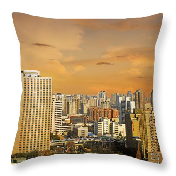 Shanghai - Paris of the East Throw Pillow by Christine Till