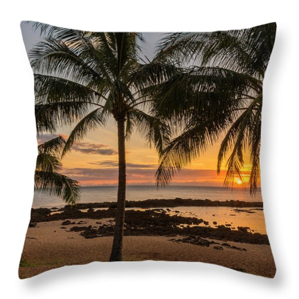 Sharks Cove Sunset 4 - Oahu Hawaii Throw Pillow by Brian Harig
