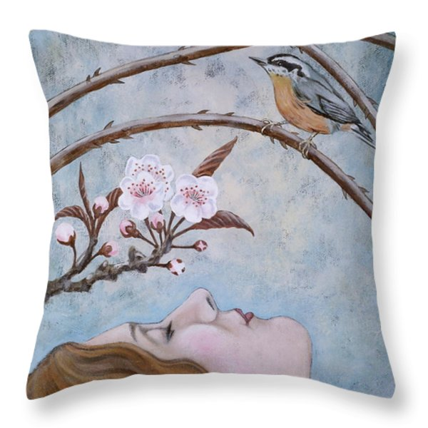 She Dreams the Spring Throw Pillow by Sheri Howe