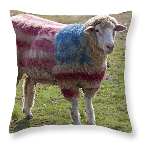 Sheep with American flag Throw Pillow by Garry Gay
