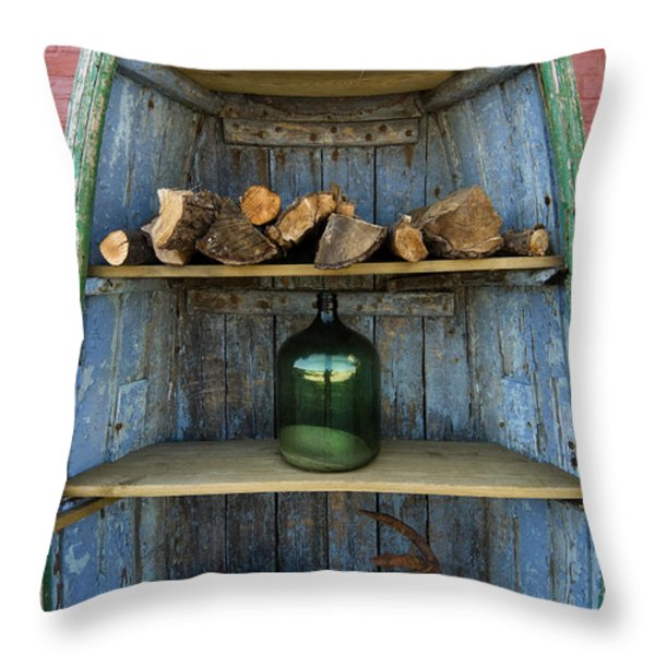 Shelved Boat Throw Pillow by Robert Lacy