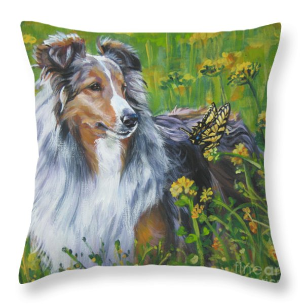 Shetland Sheepdog Wildflowers Throw Pillow by Lee Ann Shepard