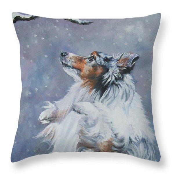 Shetland Sheepdog With Chickadee Throw Pillow by Lee Ann Shepard