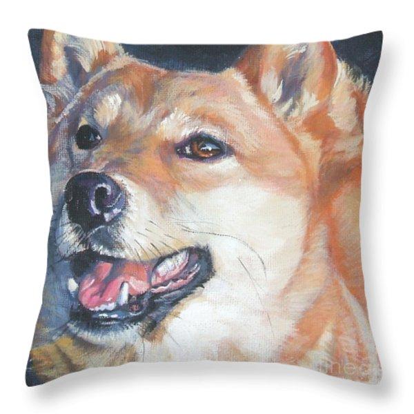 Shiba Inu Throw Pillow by Lee Ann Shepard